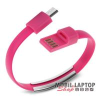Adatkábel univerzális Micro USB rózsaszín csuklópánt