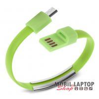 Adatkábel univerzális Micro USB zöld csuklópánt