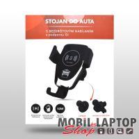 Autós tartó univerzális vezeték nélküli töltéssel, gyorstöltés, szellőző/tapadókorong fekete PRÉMIUM