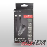 Autós töltő univerzális USB-C 3.0 Quick Charge technológia gyorstöltés támogatás (2,1A/2,4A) STURDO