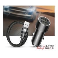 Baseus Small Screw 3.4A dual USB fekete szivargyújtó töltő + USB to Lightning kábel