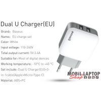 Baseus Travel Letour Dual 1,2m fehér hálózati töltő + 3-in-1 kábel (Lighting+Micro+Type-C)