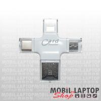 MicroSD memóriakártya olvasó USB, Micro USB, Type-C, Ligtning csatlakozóval