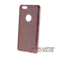 Szilikon tok Apple iPhone 6 / 6S rózsaarany rácsos krómszélű