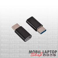 Univerzális Micro USB / USB Type-C átalakító adapter fekete