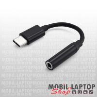 Univerzális USB Type-C / Jack 3,5mm (anya) átalakító adapter fekete PRÉMIUM STURDO