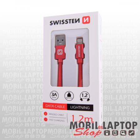 Adatkábel Apple iPhone 8pin lightning 1,2m szövethálós piros SWISSTEN