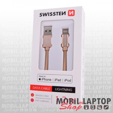 Adatkábel Apple iPhone 8pin lightning 1,2m szövethálós rózsaarany MFI engedéllyel SWISSTEN