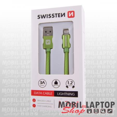 Adatkábel Apple iPhone 8pin lightning 1,2m szövethálós zöld SWISSTEN