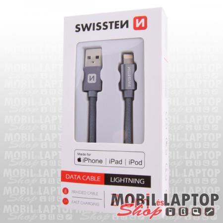 Adatkábel Apple iPhone 8pin lightning 2m szövethálós szürke MFI engedéllyel SWISSTEN