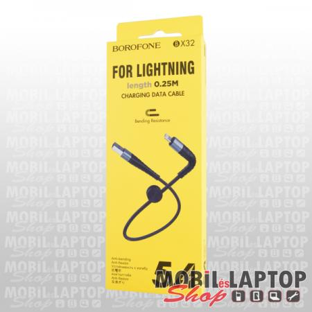 Adatkábel Apple iPhone 8pin lightning fekete 25cm Borofone BX32