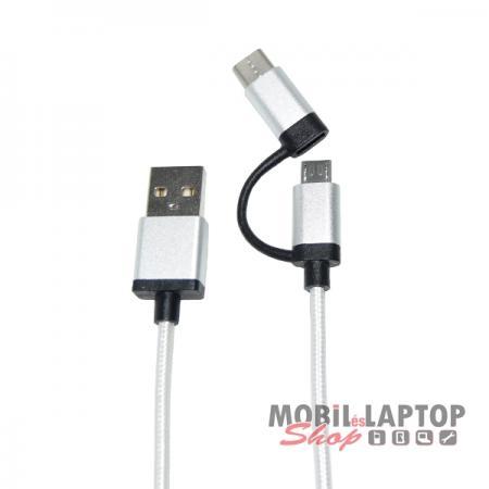 Adatkábel univerzális Micro USB - USB-C 3.1 átalakítóval ezüst-fekete