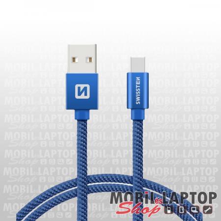 Adatkábel univerzális USB Type-C 2m szövethálós kék SWISSTEN