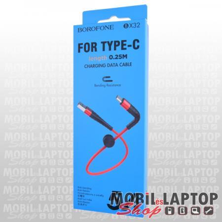 Adatkábel univerzális USB Type-C piros 25cm Borofone BX32