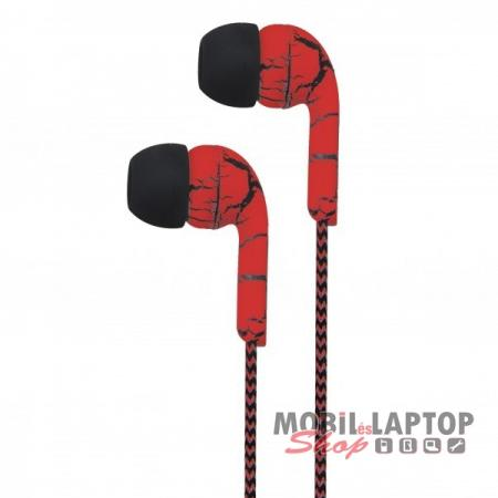 Astrum EB200 univerzális 3,5mm jack piros-fekete sztereó headset mikrofonnal, szövetbevonatos kábel