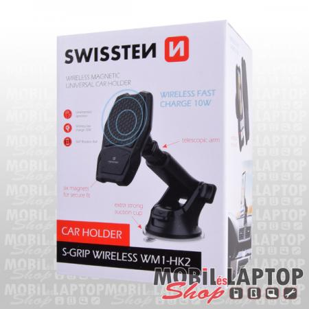 Autós tartó univerzális mágneses tapadókorong QI vezetéknélküli gyorstöltés fekete SWISSTEN S-Grip