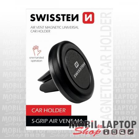 Autós tartó univerzális szellőzőrácsba illeszthető mágneses SWISSTEN S-Grip Easy Mount ezüst
