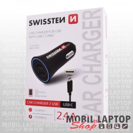 Autós töltő 2 USB aljzat USB Type-C kábellel 2,4A fekete SWISSTEN