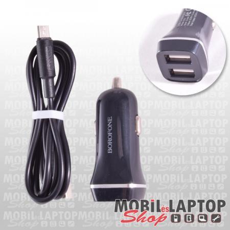 Borofone BZ2 fekete autós töltő 2 x 2.4A Micro USB adatkábellel