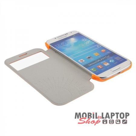 Flippes tok Samsung I9500 / I9505 / I9515 Galaxy S4 oldalra nyíló narancs BASEUS Folio window