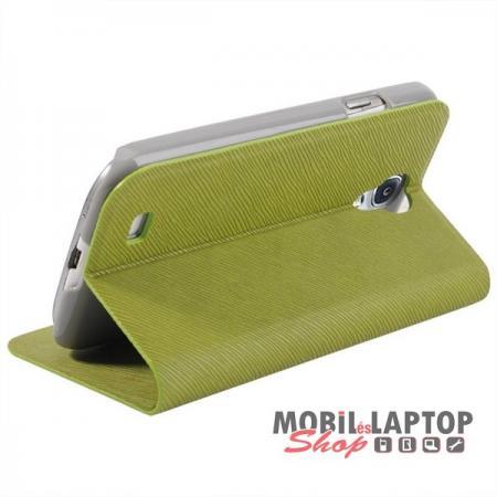 Flippes tok Samsung I9500 / I9505 / I9515 Galaxy S4 oldalra nyíló zöld BASEUS Faith bőr