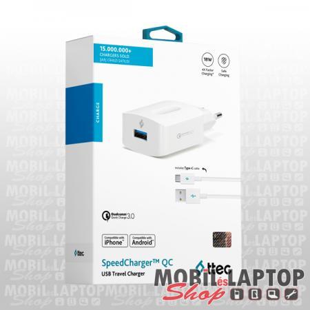 Hálózati töltő univerzális Quickcharge USB-C 3.0 gyorstöltés támogatás TTEC