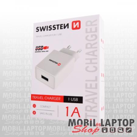 Hálózati töltő univerzális USB adapter 1A fehér SWISSTEN