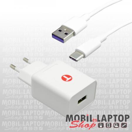 Hálózati töltő univerzális USB Type-C 3,4A 18W Quick Charge 3.0 gyorstöltés támogatással fehér