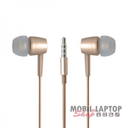 Headset sztereo univerzális META earphones 3,5mm arany PRÉMIUM KATEGÓRIA