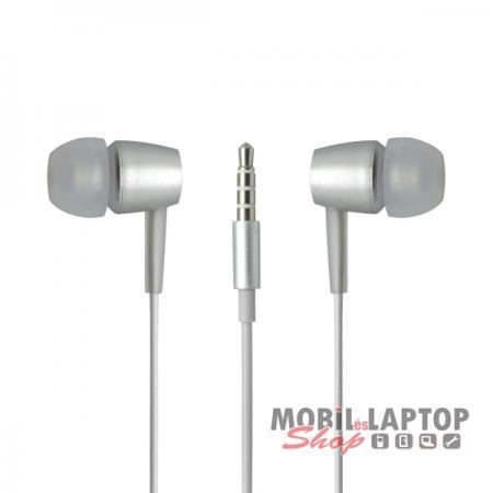 Headset sztereo univerzális META earphones 3,5mm ezüst PRÉMIUM KATEGÓRIA