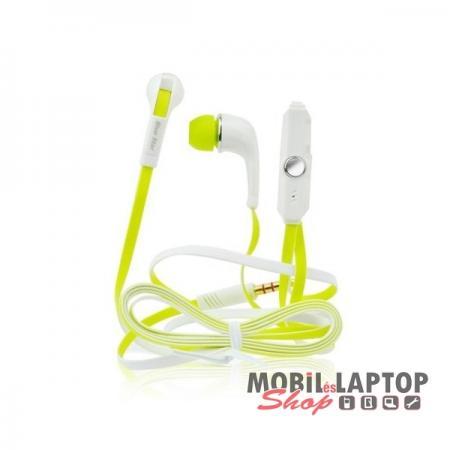 Headset sztereo univerzális Samsung / Apple / HTC 3,5mm jack dugós zöld
