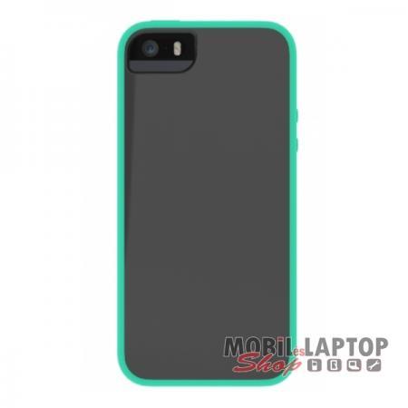 Kemény hátlap Apple iPhone 5 / 5S / SE ütésálló műanyag + gumi szürke-zöld SKECH IPH5-GLW-GSKY