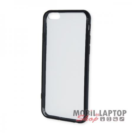 Kemény hátlap Apple iPhone 6 / 6S átlátszó műanyag fekete kerettel
