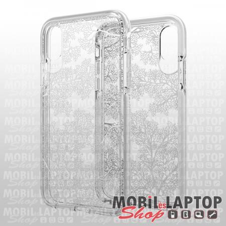 """Kemény hátlap Apple iPhone X. / XS. ( 5,8"""" ) ütésálló átlátszó fehér korall mintás GEAR4 Victoria"""