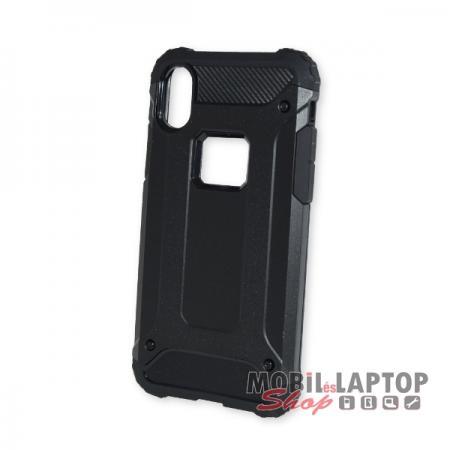 """Kemény hátlap Apple iPhone X. / XS. ( 5,8"""" ) ütésálló műanyag + gumi fekete"""