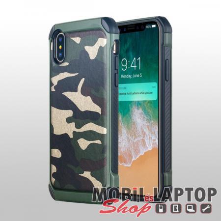 """Kemény hátlap Apple iPhone X. / XS. ( 5,8"""" ) ütésálló műanyag + gumi zöld terepmintás"""