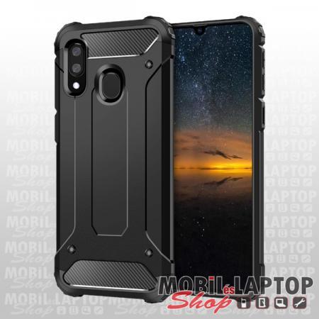 Kemény hátlap Samsung A202 Galaxy A20e ütésálló műanyag + gumi fekete