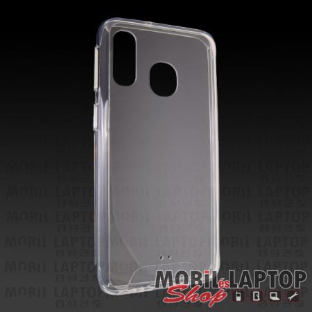 Kemény hátlap Samsung A405 Galaxy A40 ütésálló műanyag + gumi átlátszó