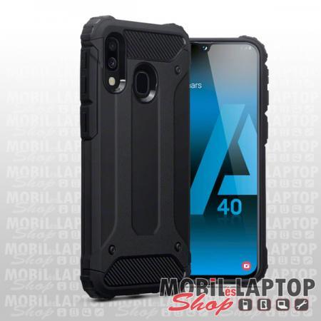Kemény hátlap Samsung A405 Galaxy A40 ütésálló műanyag + gumi fekete