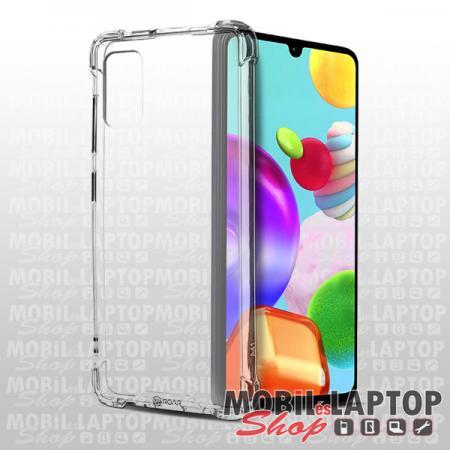Kemény hátlap Samsung A415 Galaxy A41 ütésálló műanyag + gumi átlátszó