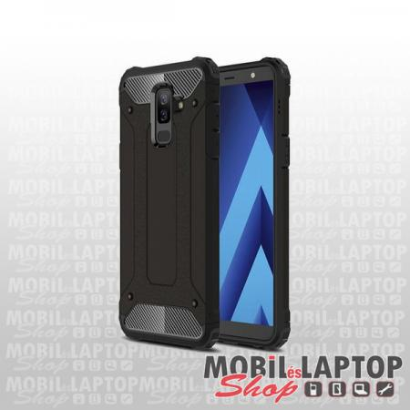 Kemény hátlap Samsung A600 Galaxy A6 (2018) ütésálló műanyag + gumi fekete