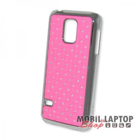 Kemény hátlap Samsung G800 Galaxy S5 Mini rózsaszín köves