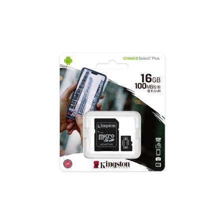 Kingston 16GB SD micro Canvas Select Plus (SDHC Class 10 A1) (SDCS2/16GB) memória kártya adapterrel