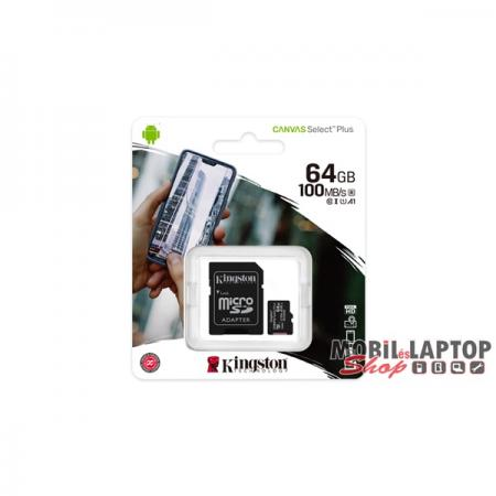 Kingston 64GB SD micro Canvas Select Plus (SDXC Class 10 A1) (SDCS2/64GB) memória kártya adapterrel