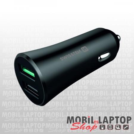 Swissten CL Qualcomm Quick Charge 3.0 + USB 2,4A autós töltő adapter, 2xUSB 30W metál fekete