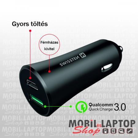 Swissten CL Qualcomm Quick Charge USB 3.0 + PD USB-C autós töltő adapter,36W metál fekete