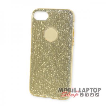 """Szilikon tok Apple iPhone 7 / 8 ( 4,7"""" ) csillámos arany 3 in 1 szálcsiszolt"""