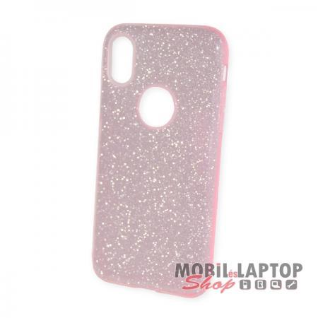 """Szilikon tok Apple iPhone X. / XS. ( 5,8"""" ) csillámos rózsaszín 3 in 1 szálcsiszolt"""