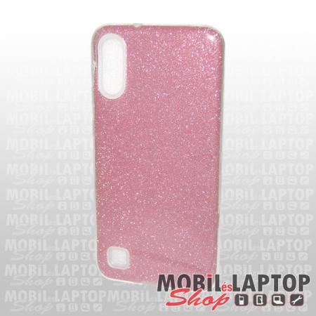 Szilikon tok Samsung A105 Galaxy A10 csillámos átlátszó-rózsaszín