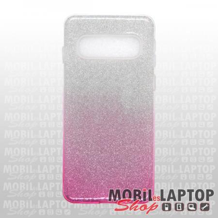 """Szilikon tok Samsung G973 Galaxy S10 ( 6,1"""" ) csillámos átlátszó-rózsaszín"""